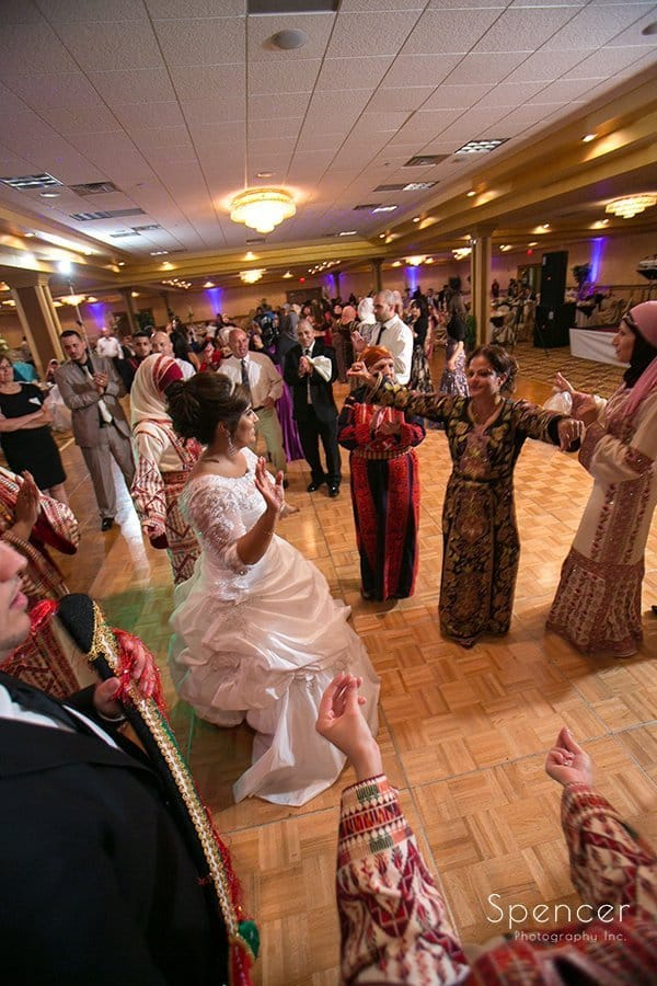 women dancing at wedding reception at La Villa