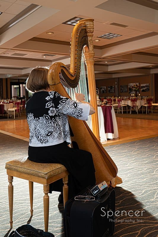 harpist playing at wedding reception at Firestone