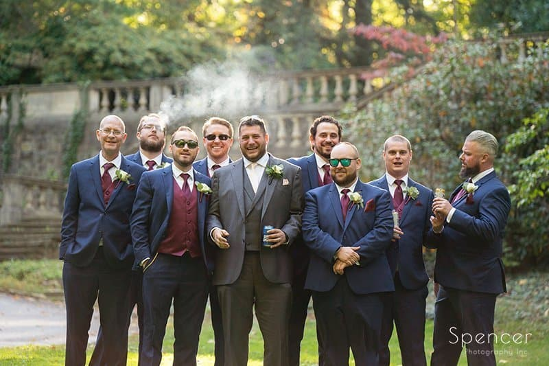 picture of groomsmen after wedding in Mayfield Ohio