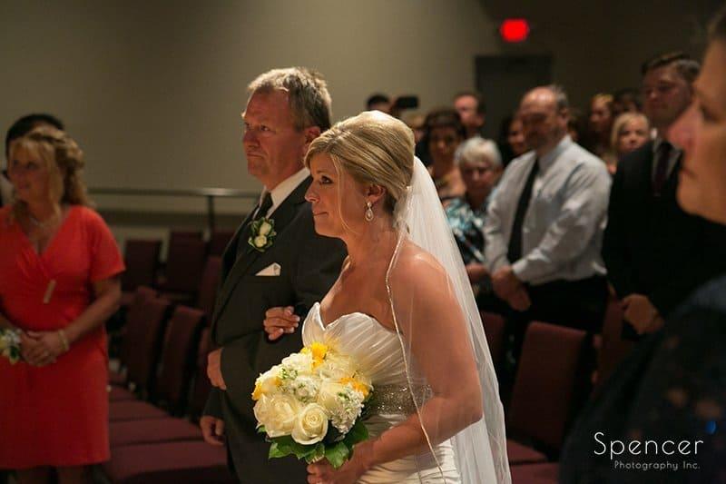 bride looking at groom at wedding at Cuyahoga Valley Church