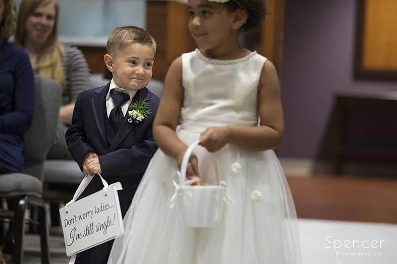 children walking down aisle at Canton Ohio wedding