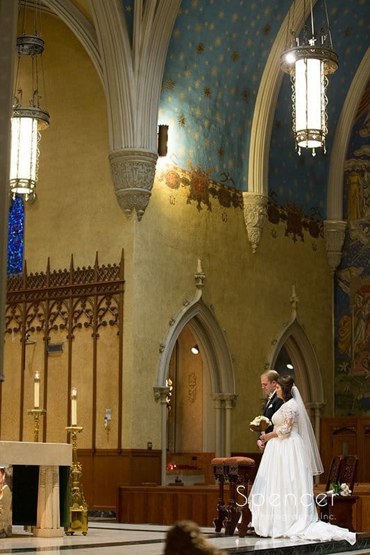 wedding picture of ceremony at Cathedral of St John the Evangelist