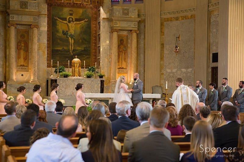 wide shot of wedding ceremony at Communion of Saints Parish