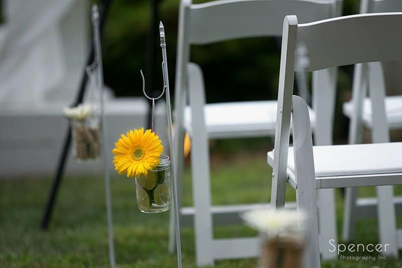 ceremony detail at wedding at Country Cottage and Gardens