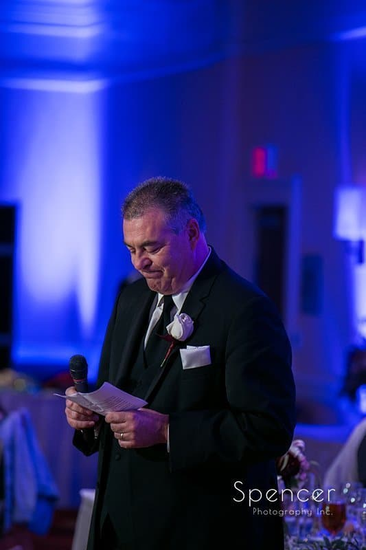 father of bride gives reception speech at Beachwood Ohio Embassy Suites