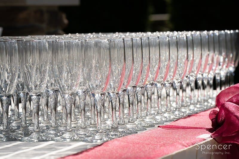 champagne glasses at wedding ceremony at Firestone Country Club