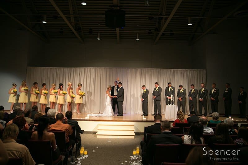 picture of stage of wedding ceremony at Cuyahoga Valley Church