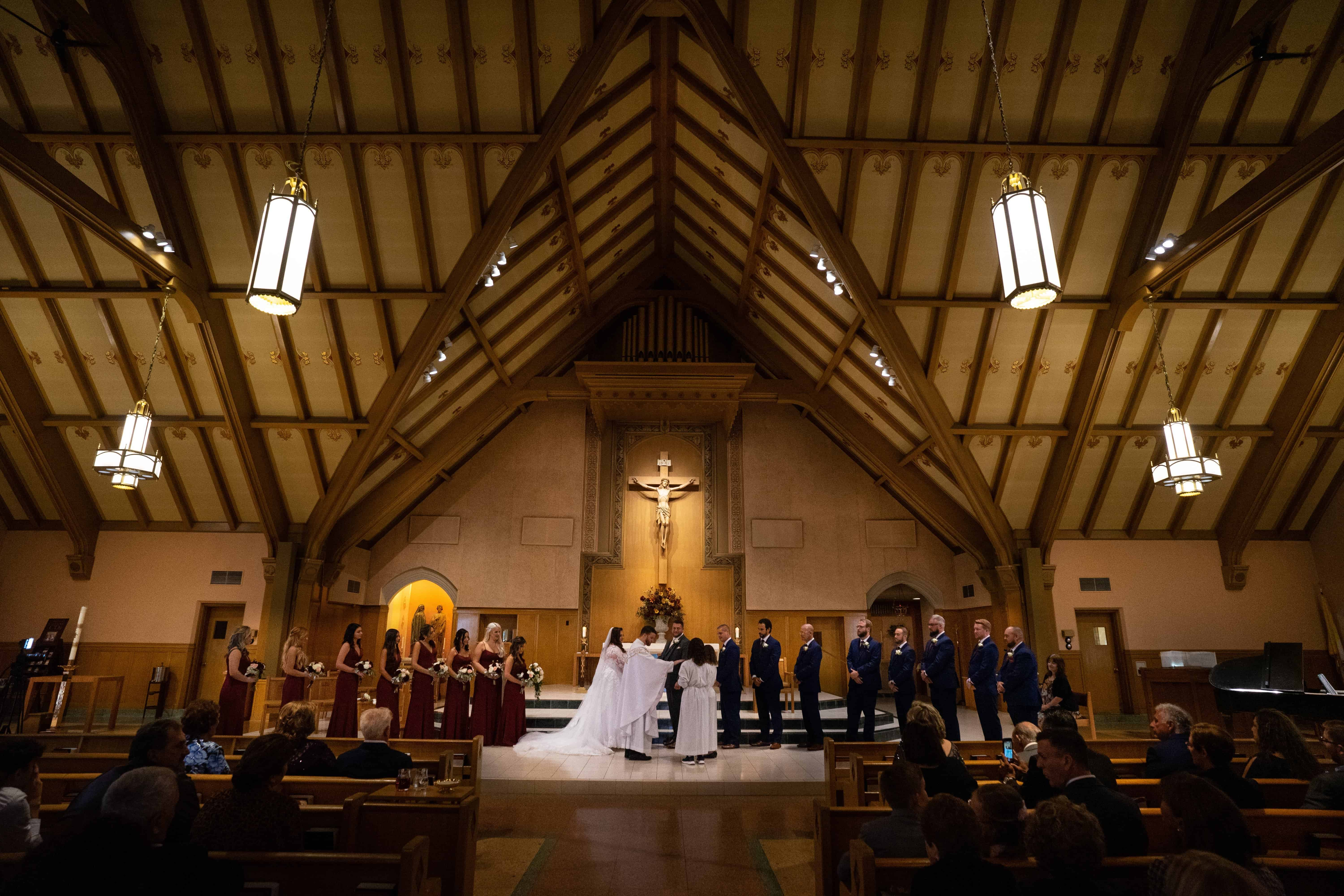 wide shot of wedding at Church of Saint Clare