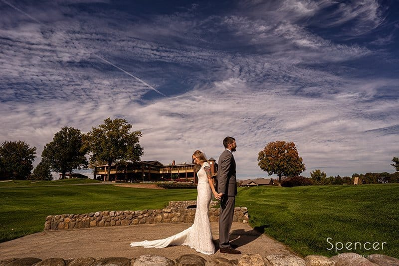 bride and groom first look at Firestone Country Club