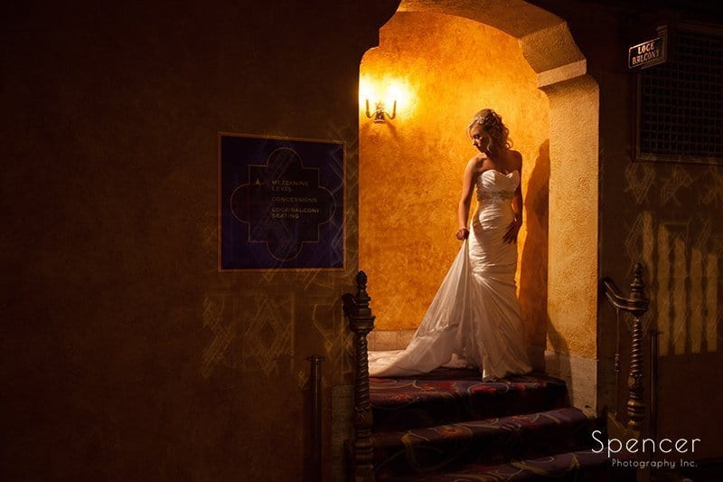 bride coming down steps in wedding pictures in Akron Civc Theater