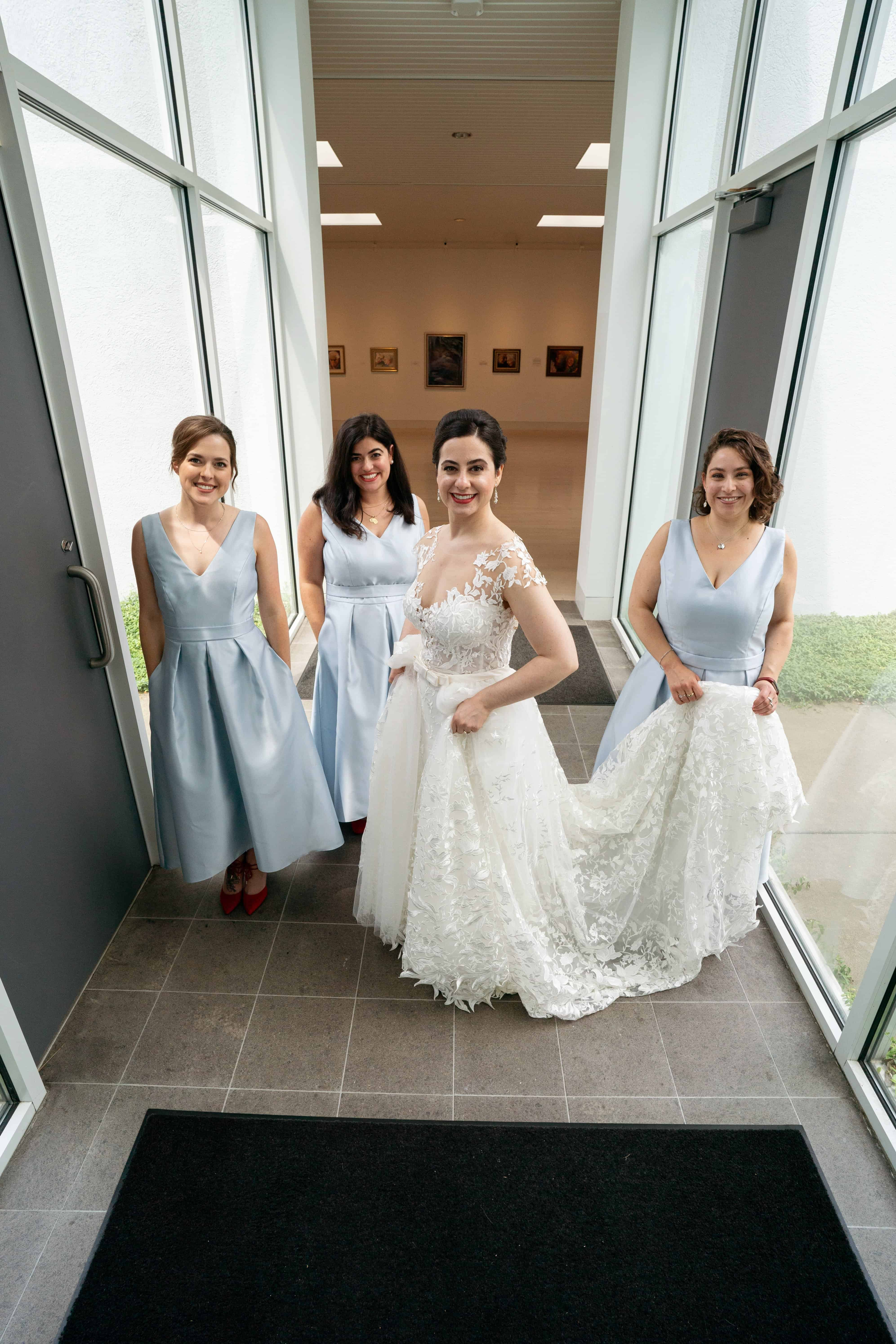 bridesmaids on wedding day at Butler Museum of Art