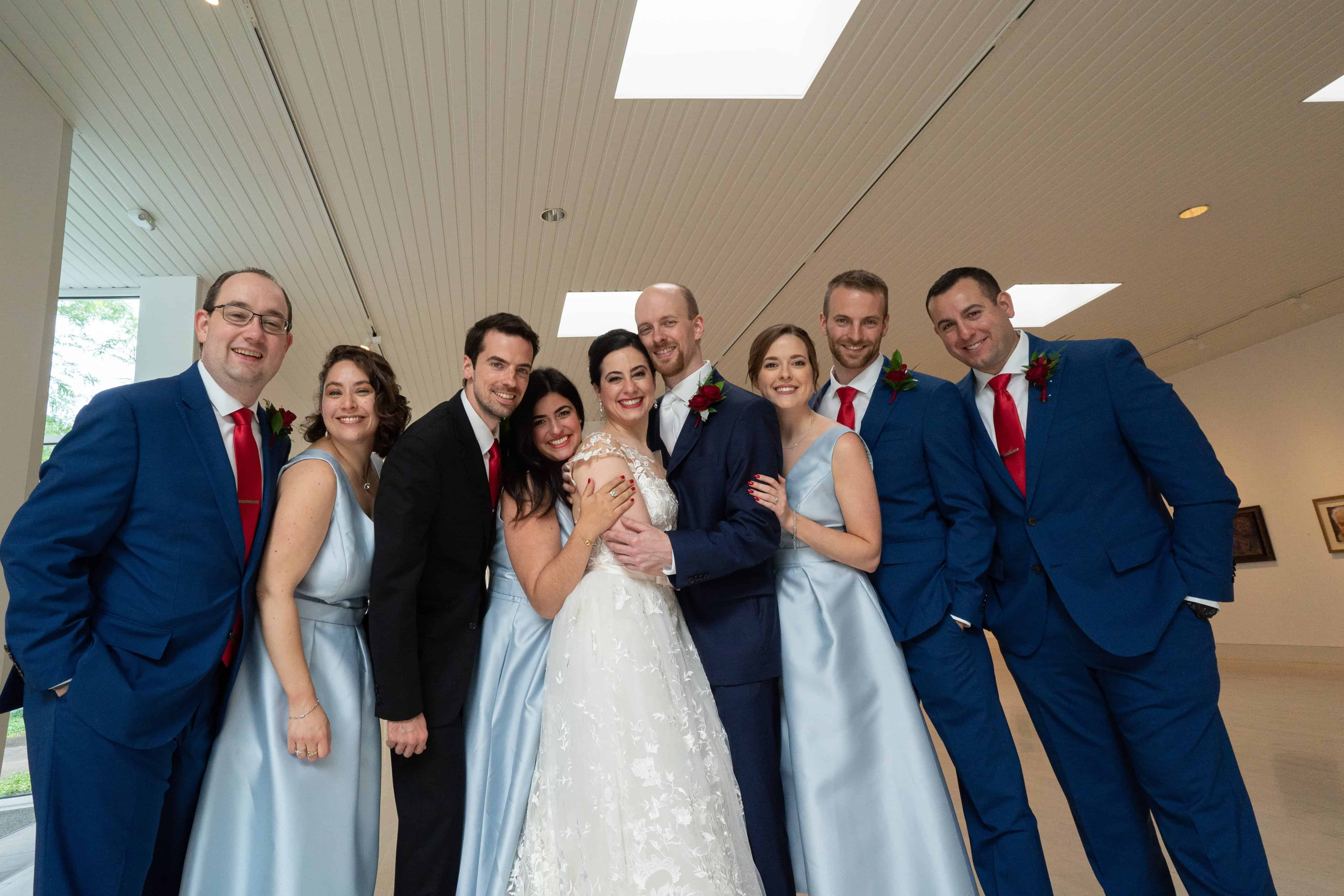 wedding day picture of bridal party at Butler Museum of Art Youngstown