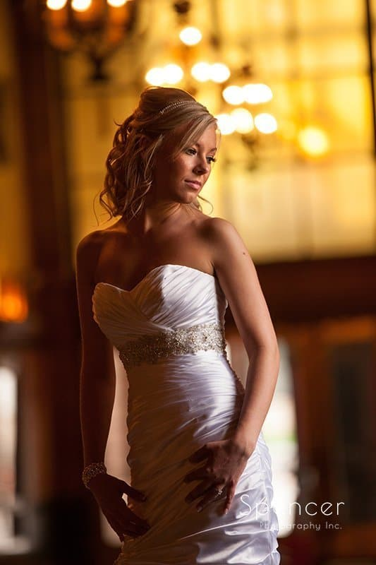 wedding picture of bride in lobby of Akron Civic Theater