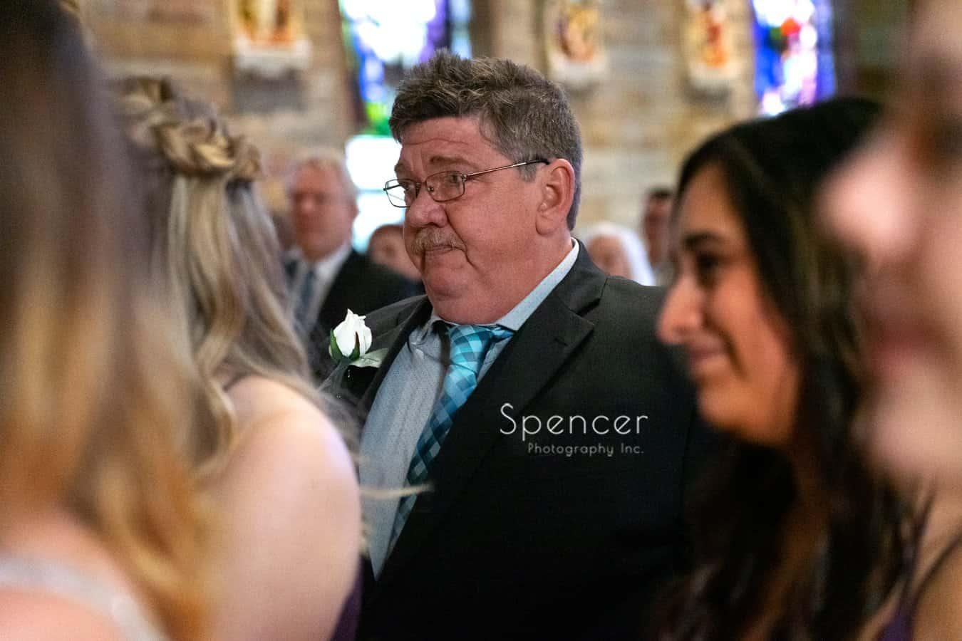 emotional dad at Indiana wedding ceremony