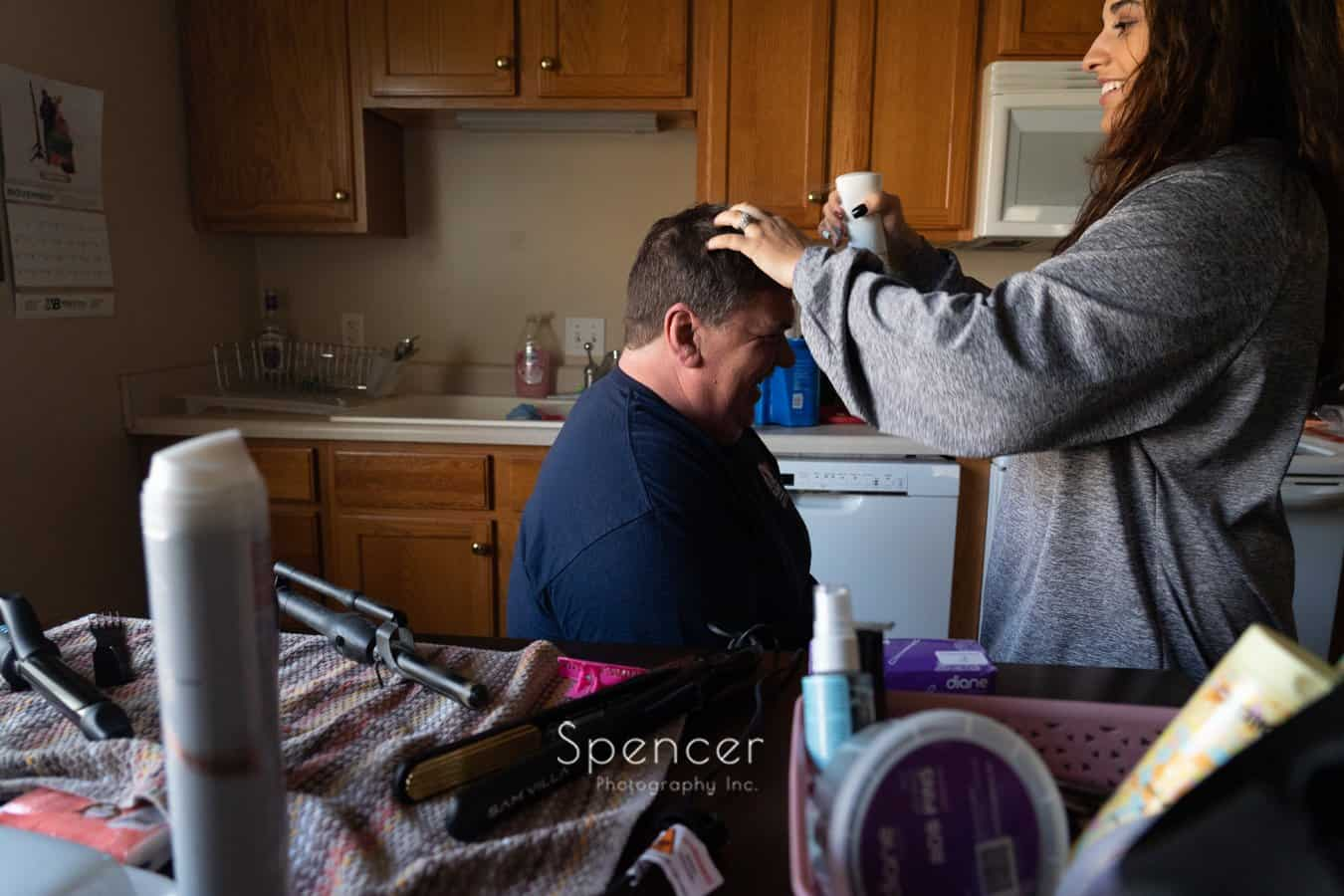 Indiana brides dad getting hair done