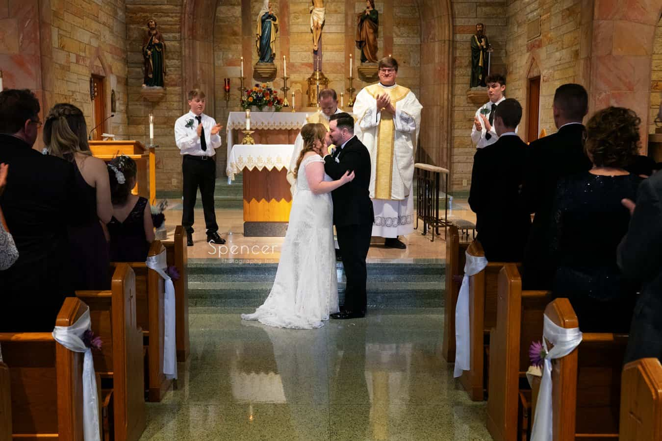 first kiss at Indiana wedding ceremony