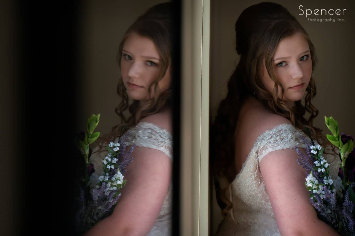 wedding picture of Indiana bride with reflection