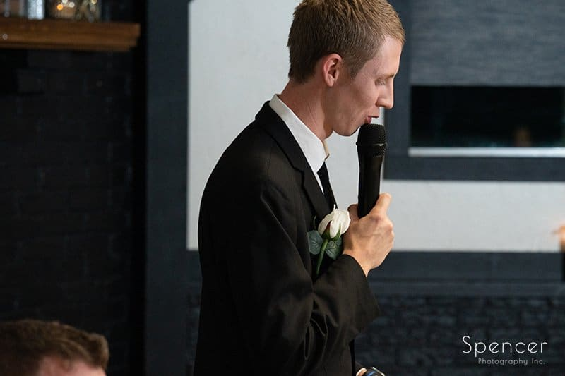 best man giving wedding reception speech