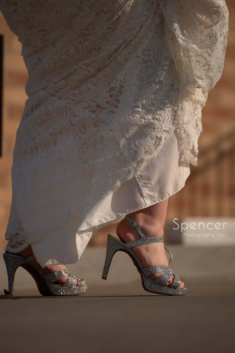 detail picture of brides wedding shoes