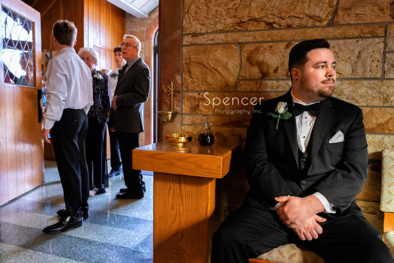 groom waiting for Indiana wedding ceremony to begin