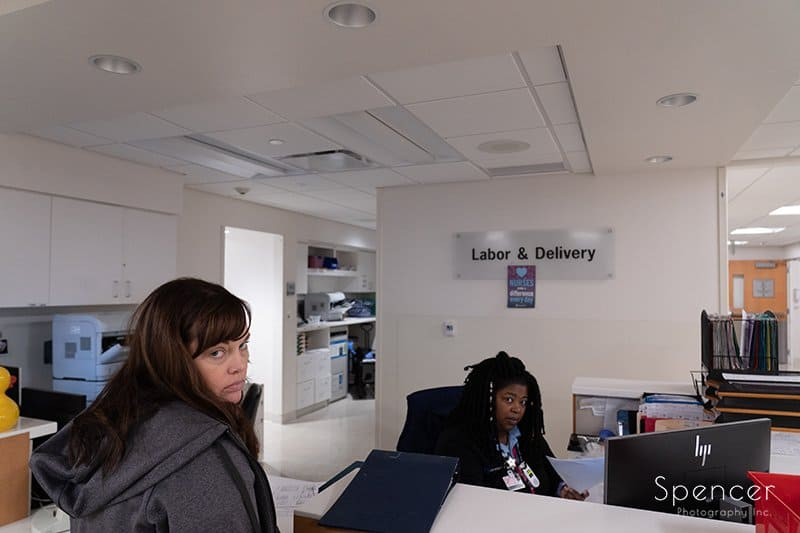 mom checking into labor and delivery at Hillcrest Hospital