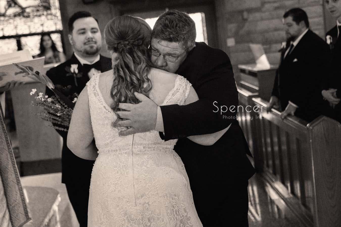 dad giving away bride at Indiana wedding ceremony