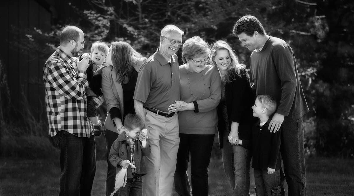 black and white picture of family in Cleveland park