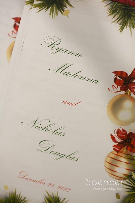 Christmas wedding program at Holy Angels Church