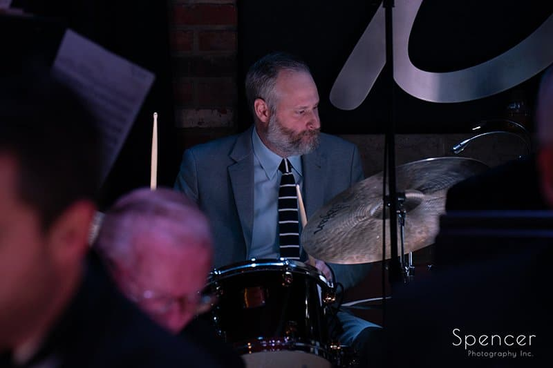drummer of Dan Zola playing at Brothers Lounge