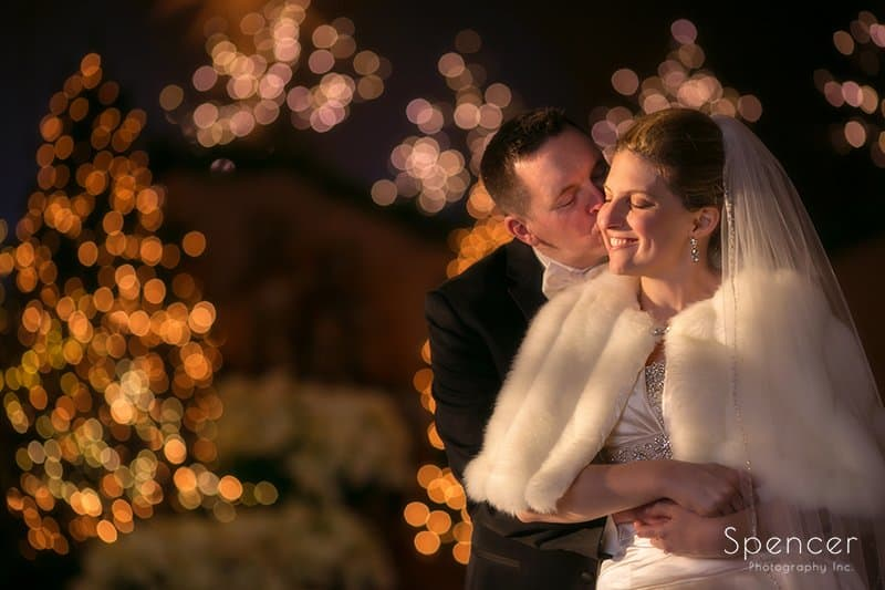Christmas picture of bride and groom in Chagrin Falls