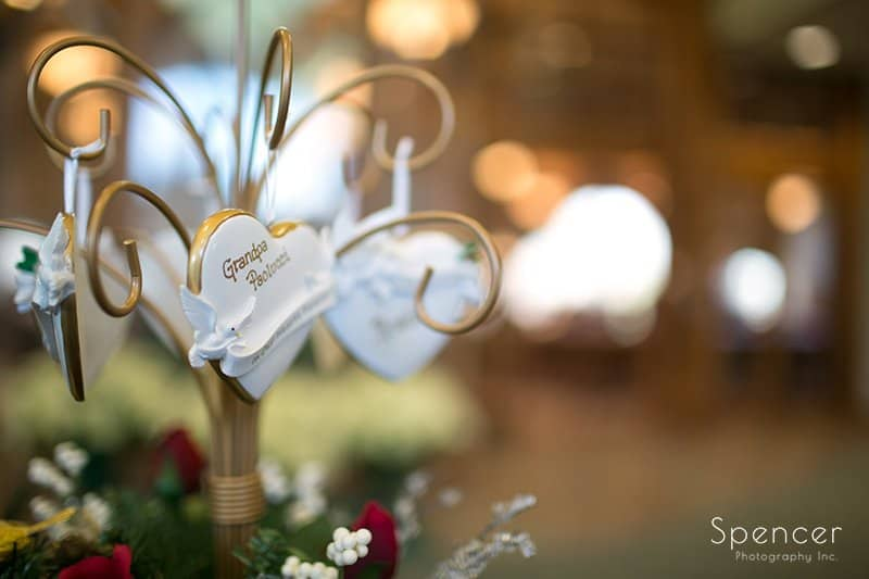 Christmas wedding detail at Holy Angels Church