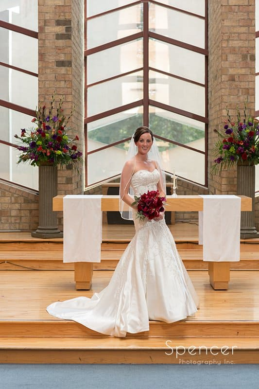 traditional wedding portrait of bride at Montrose Zion Church