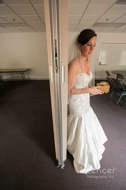 bride waiting for groom at Montrose Zion Church