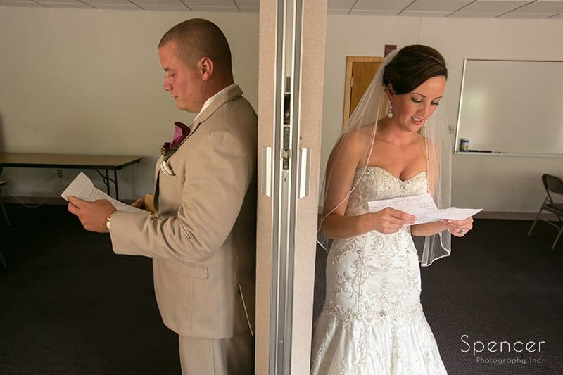 bride and groom exchange messages on wedding day