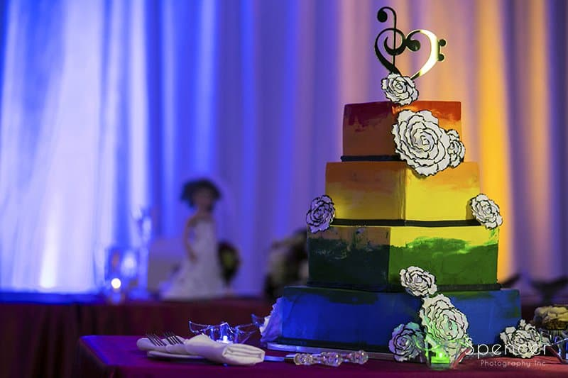 unique wedding cake at Cleveland Marriott East
