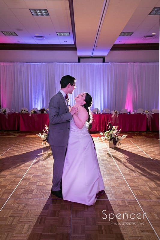 bride and groom first dance at Cleveland Marriott East reception