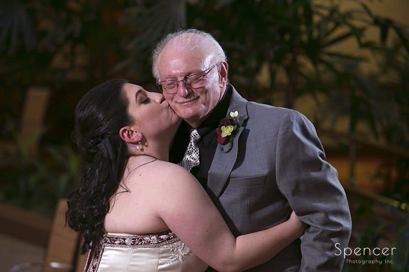 bride kissing dads cheek