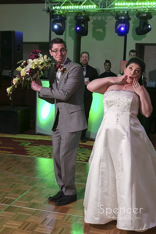 bride and groom enter their wedding reception at Cleveland Marriott East