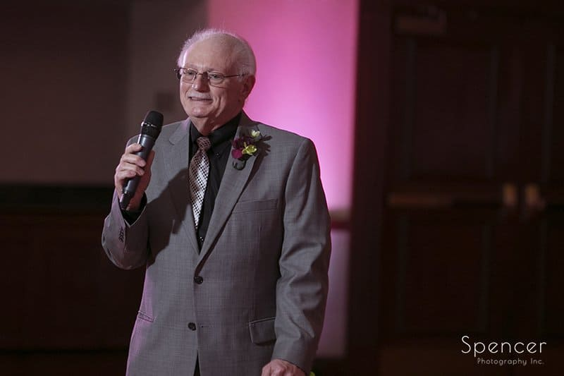father of the bride gives reception speech