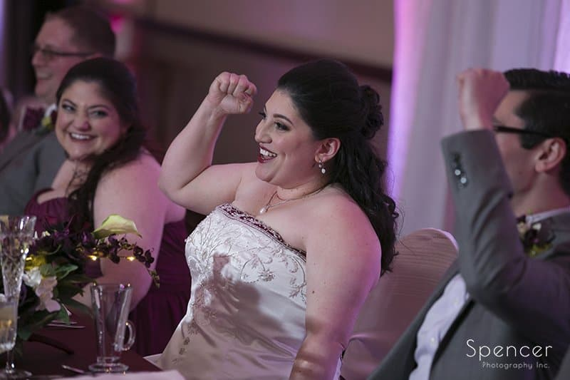 bride reacting to fathers speech