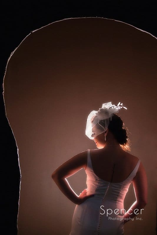 Wedding picture of bride in Cleveland theater