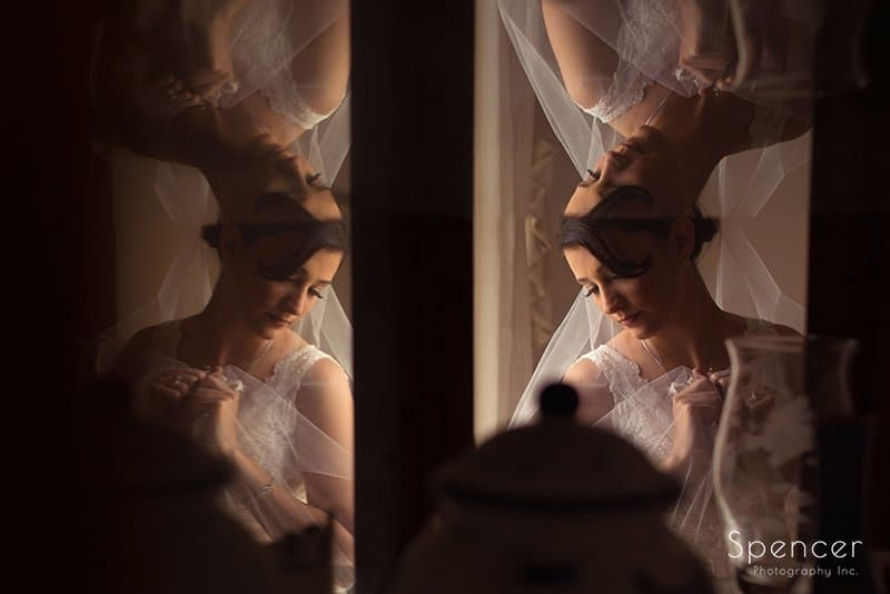 reflections of bride on her wedding day in Cleveland