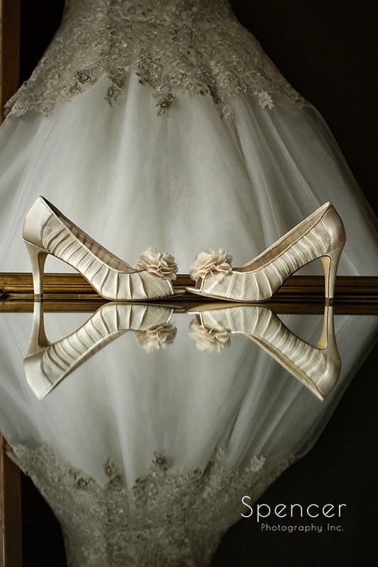 brides wedding dress and shoes at Happy Days Lodge