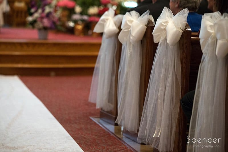aisle details at wedding at St. Paul's Catholic Church