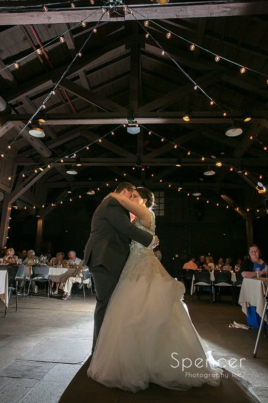 bride and groom first dance at Happy Days Lodge wedding reception