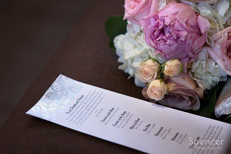 program at wedding at St. Hilary