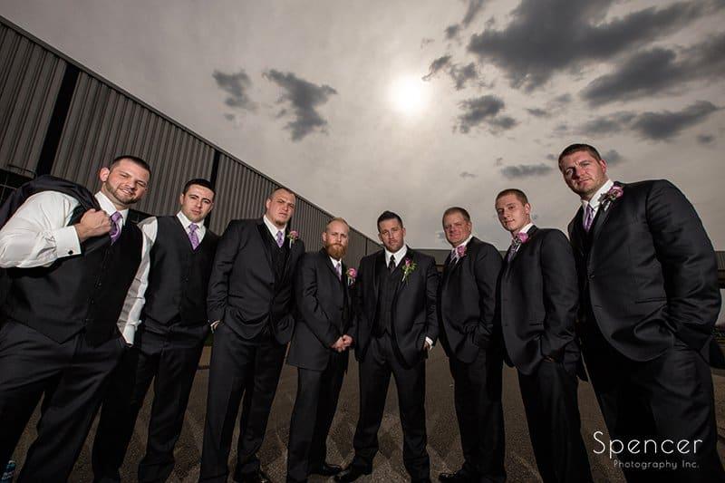 creative wedding picture of groomsmen in akron