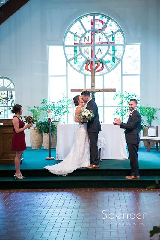 first kiss at wedding ceremony in Kirtland