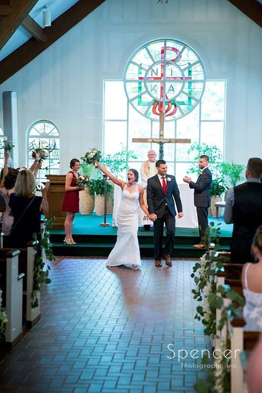 bride and groom celebrate their wedding in Kirtland