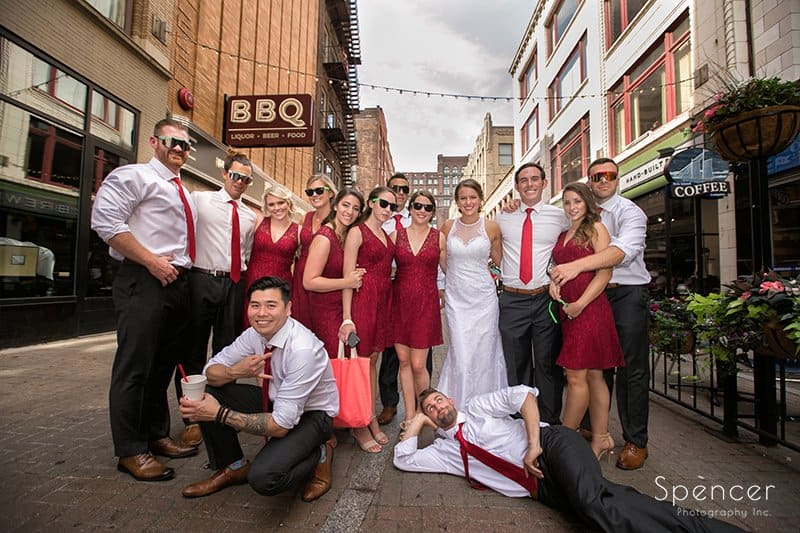 wedding party picture in downtown Cleveland